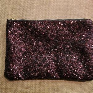 Plum Glitter Pouchette NWOT 8 by 51/4